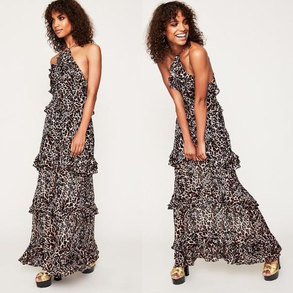 c9ac6798a80 AFRM Dresses   Skirts - AFRM leopard animal print halter tiered maxi dress